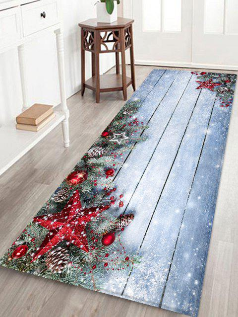 Christmas Star Wooden Board Pattern Water Absorption Area Rug
