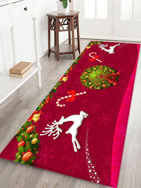 Elk Candy Garland Print Decorative Christmas Area Rug - RED W24 X L71 INCH