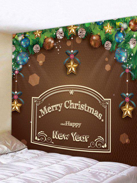 Merry Christmas Letter Ball Print Tapestry Wall Art - multicolor W91 X L71 INCH