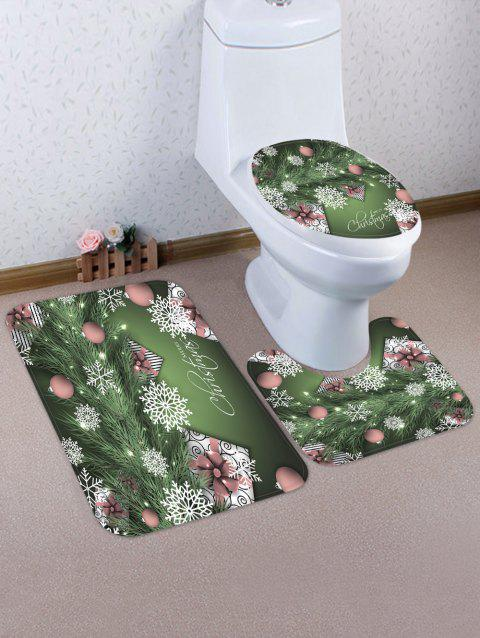 Christmas Tree Branch Gifts Pattern 3 Pcs Toilet Mat Set - multicolor