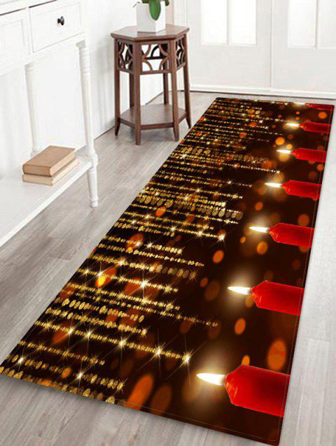 Sparkling Christmas Candle Floor Mat - RED W16 X L47 INCH
