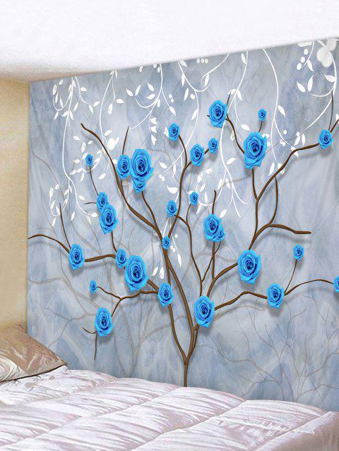 Flower Tree and Leaves Print Tapestry Wall Hanging Art Decoration - COOL WHITE W79 X L71 INCH