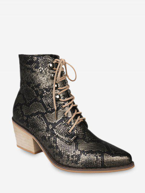 Snakeskin Print Pointed Toe Stacked Heel Boots - BLACK EU 35