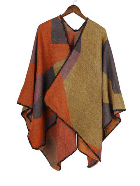 Patchwork Geometric Open Front Poncho Cape - FALL LEAF BROWN REGULAR