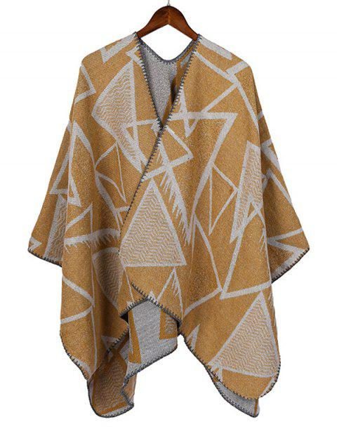 Geometric Faux Cashmere Open Front Poncho Cape - YELLOW REGULAR