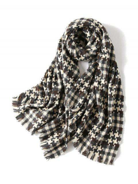 Winter Plaid Cross Pattern Fringed Long Scarf - BLACK