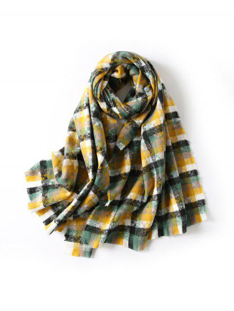 Winter Plaid Faux Cashmere Fringe Long Scarf - GINGER BROWN