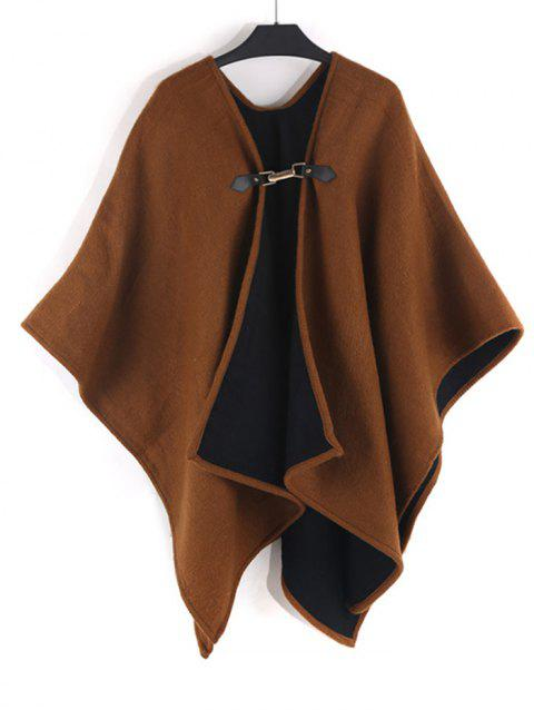 Solid Faux Cashmere Buckle Shawl - BROWN BEAR