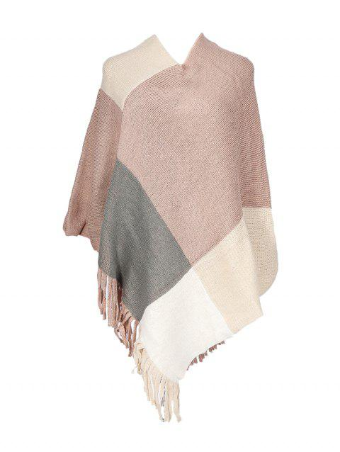 Colorblock Checkered Knitted Fringe Long Shawl - PINK