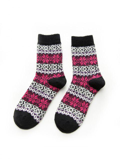 Christmas Warm Snowflake Argyle Socks - BLACK