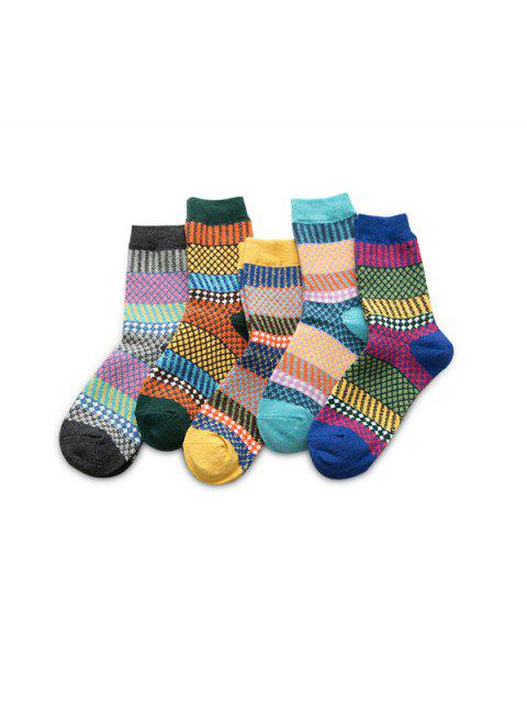 5 Pairs Colorblock Geometric Argyle Socks Set - multicolor A