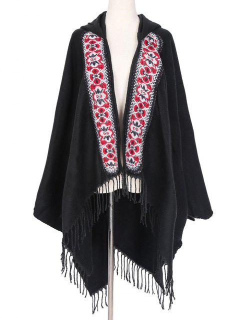 Ethnic Hooded Floral Knitted Fringe Shawl - WHITE