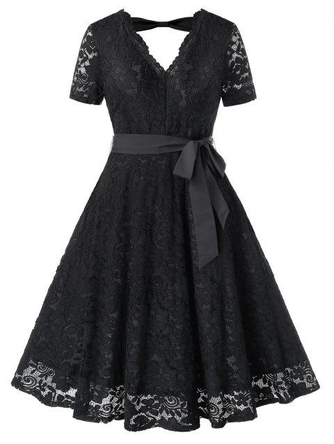 Plus Size Cut Out Lace Party Dress