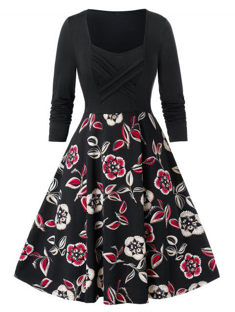 Plus Size Crossover Floral Print Flare Dress