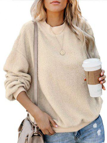 Drop Shoulder Fluffy Boyfriend Teddy Sweatshirt