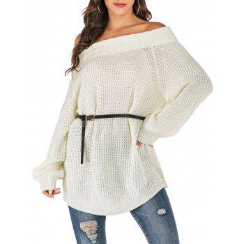 Folded Off The Shoulder Tunic Sweater