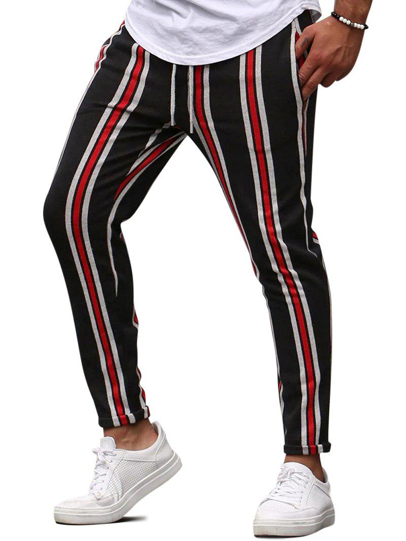 Vertical Striped Drawstring Pencil Pants - RED M