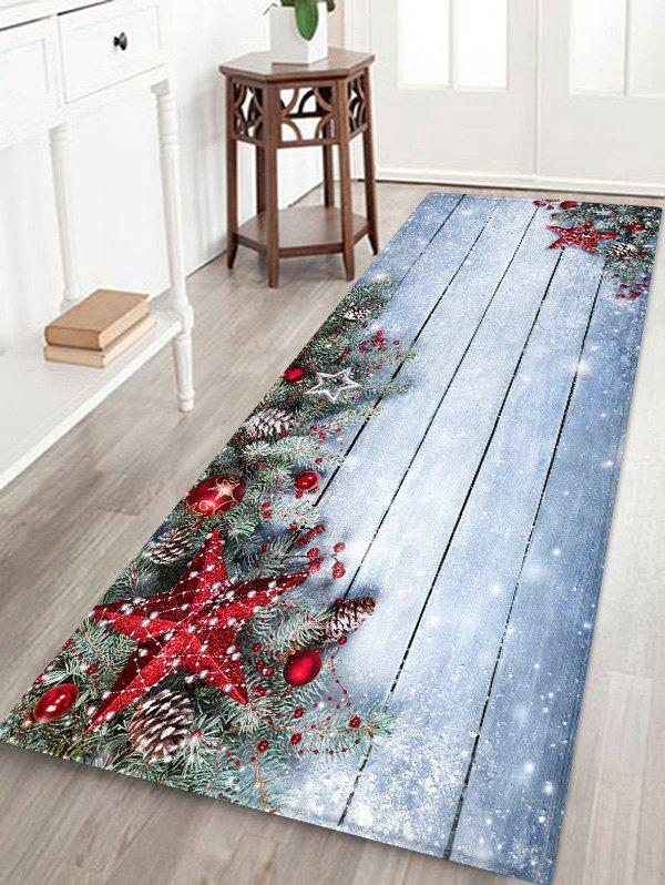 Christmas Star Wooden Board Pattern Water Absorption Area Rug - BLUE GRAY W16 X L47 INCH