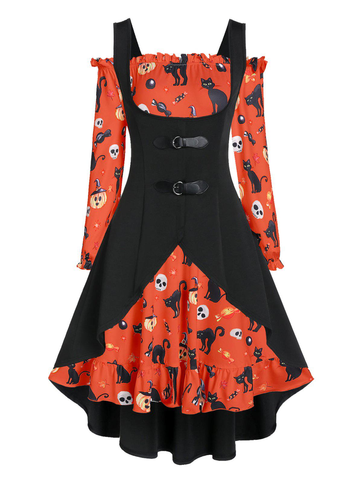 A Line Pumpkin Print Halloween Dress with High Low Top - BRIGHT ORANGE S