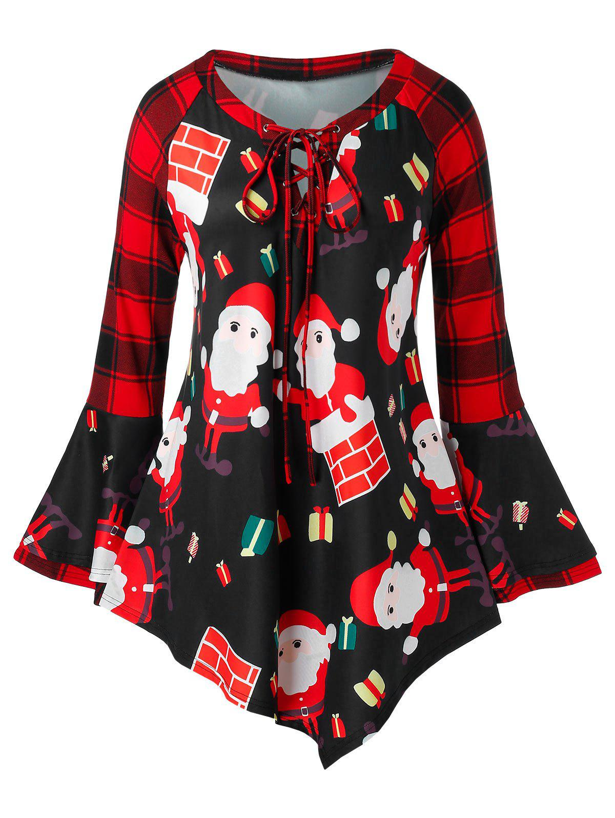 Plus Size Plaid Bell Sleeve Santa Claus Print Christmas T Shirt - RED 5X