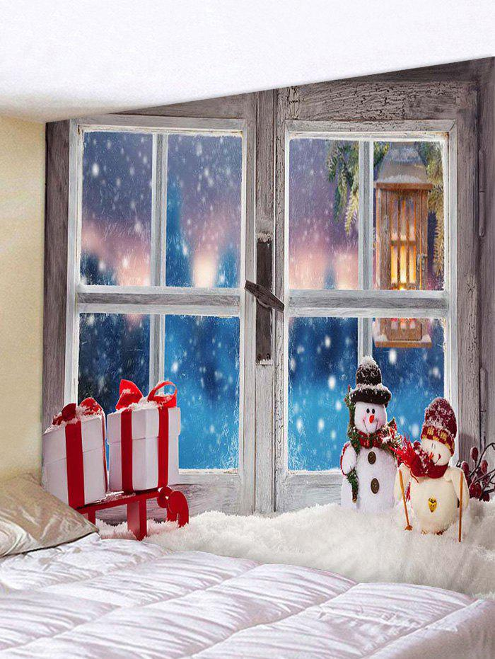 Christmas Window Snowman Gifts Print Tapestry Wall Hanging Art Decoration - multicolor W79 X L71 INCH