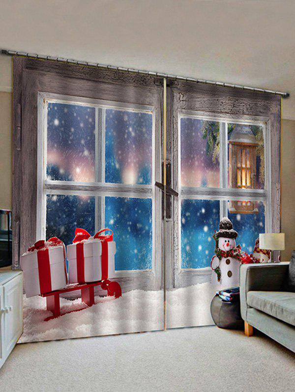 2 Panels Christmas Window Snowman Gifts Print Window Curtains - multicolor W30 X L65 INCH X 2PCS
