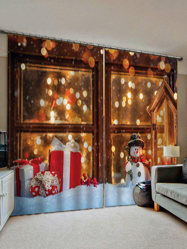 2 Panels Christmas Window Snowman Gift Print Window Curtains - multicolor W30 X L65 INCH X 2PCS