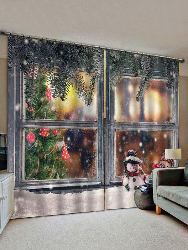 2 Panels Christmas Window Snowman Print Window Curtains - multicolor W30 X L65 INCH X 2PCS