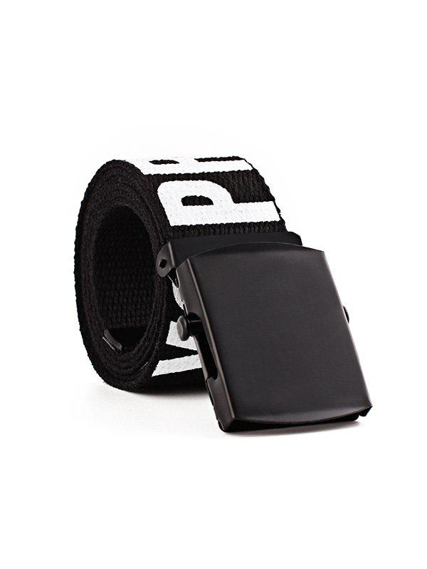 Letter Wide Knitted Canvas Buckle Tape Belt - NIGHT