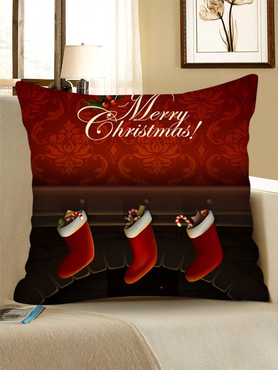 Christmas Fireplace Stockings Print Pillow Case - multicolor W24 X L24 INCH
