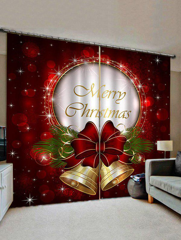 Merry Christmas Bell Print Decorative Window Curtains - multicolor W33.5 X L79 INCH X 2PCS