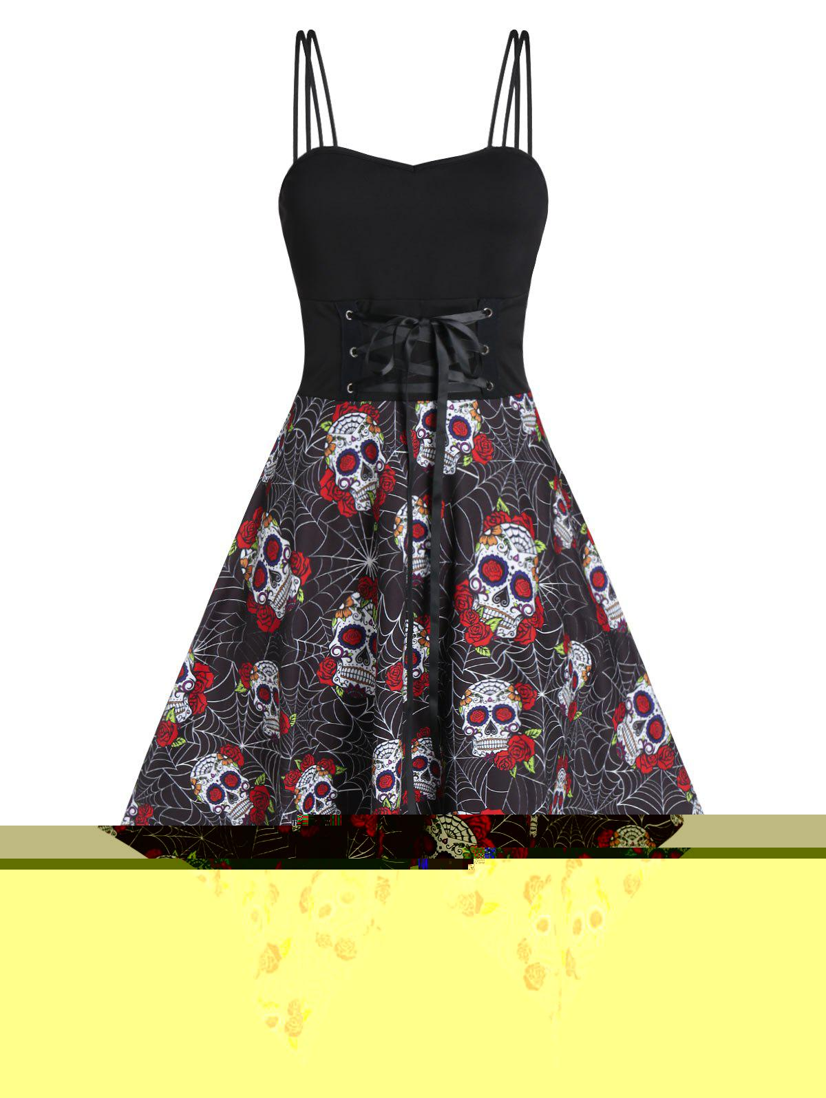 Halloween Lace Up Skull Floral Print Handkerchief Dress - BLACK L