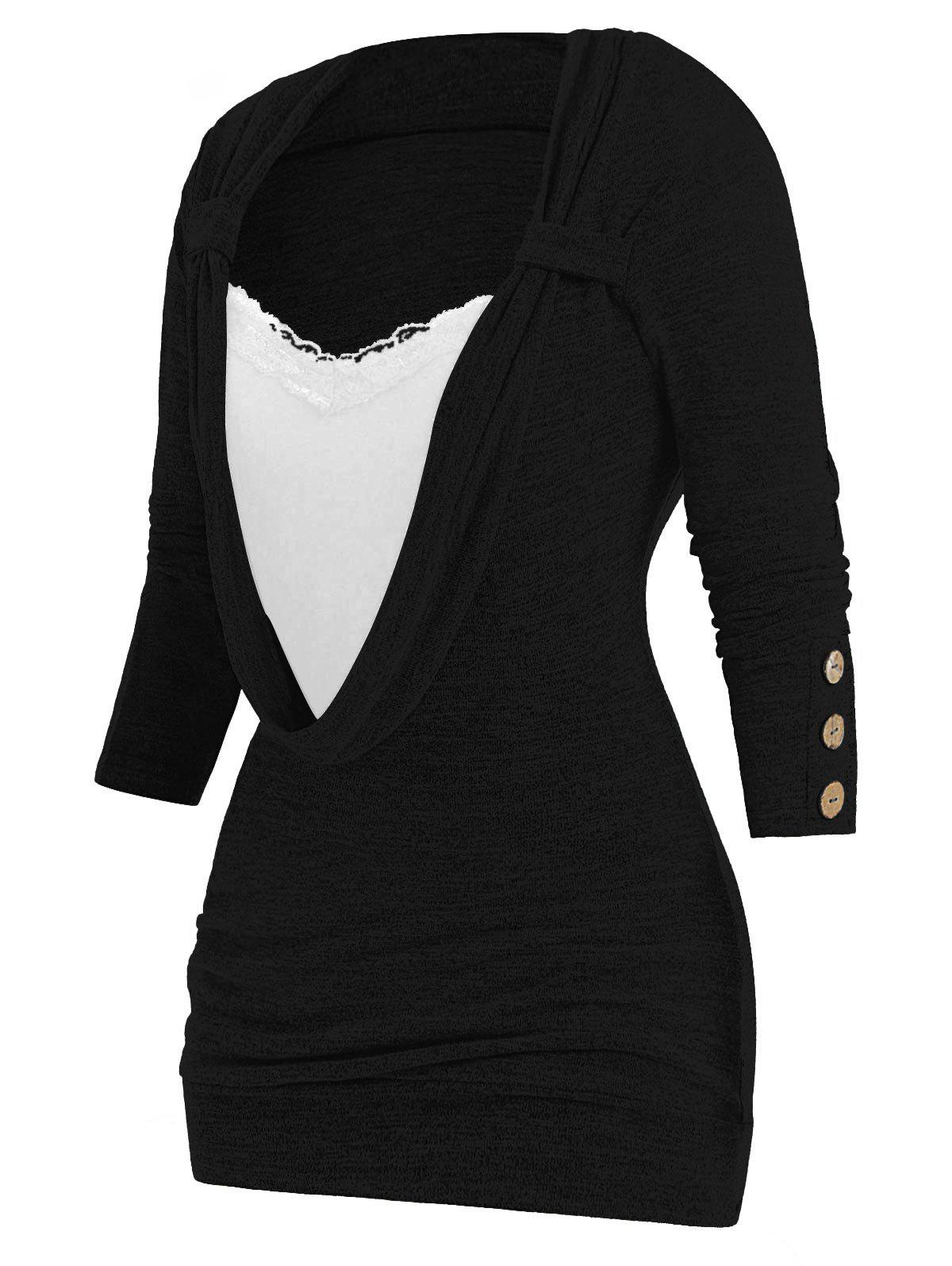 Plus Size Lace Panel Button Embellished Heathered Faux Twinset T-shirt - BLACK L