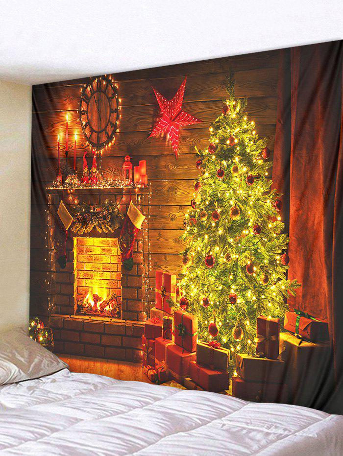 Christmas Tree Fireplace Pattern Print Hanging Tapestry - CHOCOLATE W59 X L51 INCH