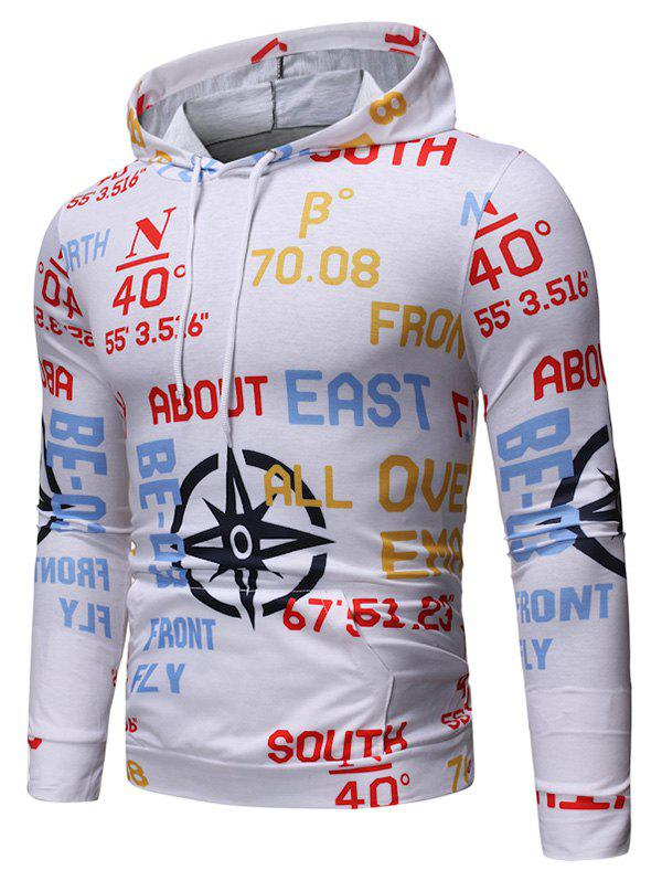 Letter Graphic Print Hoodie - WHITE L