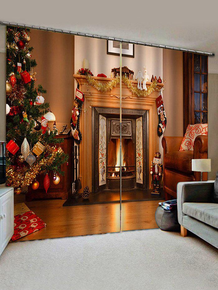 Christmas Tree Fireplace Pattern Window Curtains - multicolor W30 X L65 INCH X 2PCS