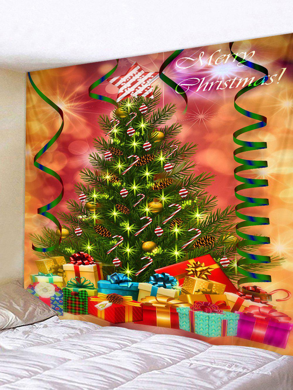 Christmas Tree and Gifts Printed Tapestry Wall Hanging Art Decoration - PUMPKIN ORANGE W79 X L71 INCH