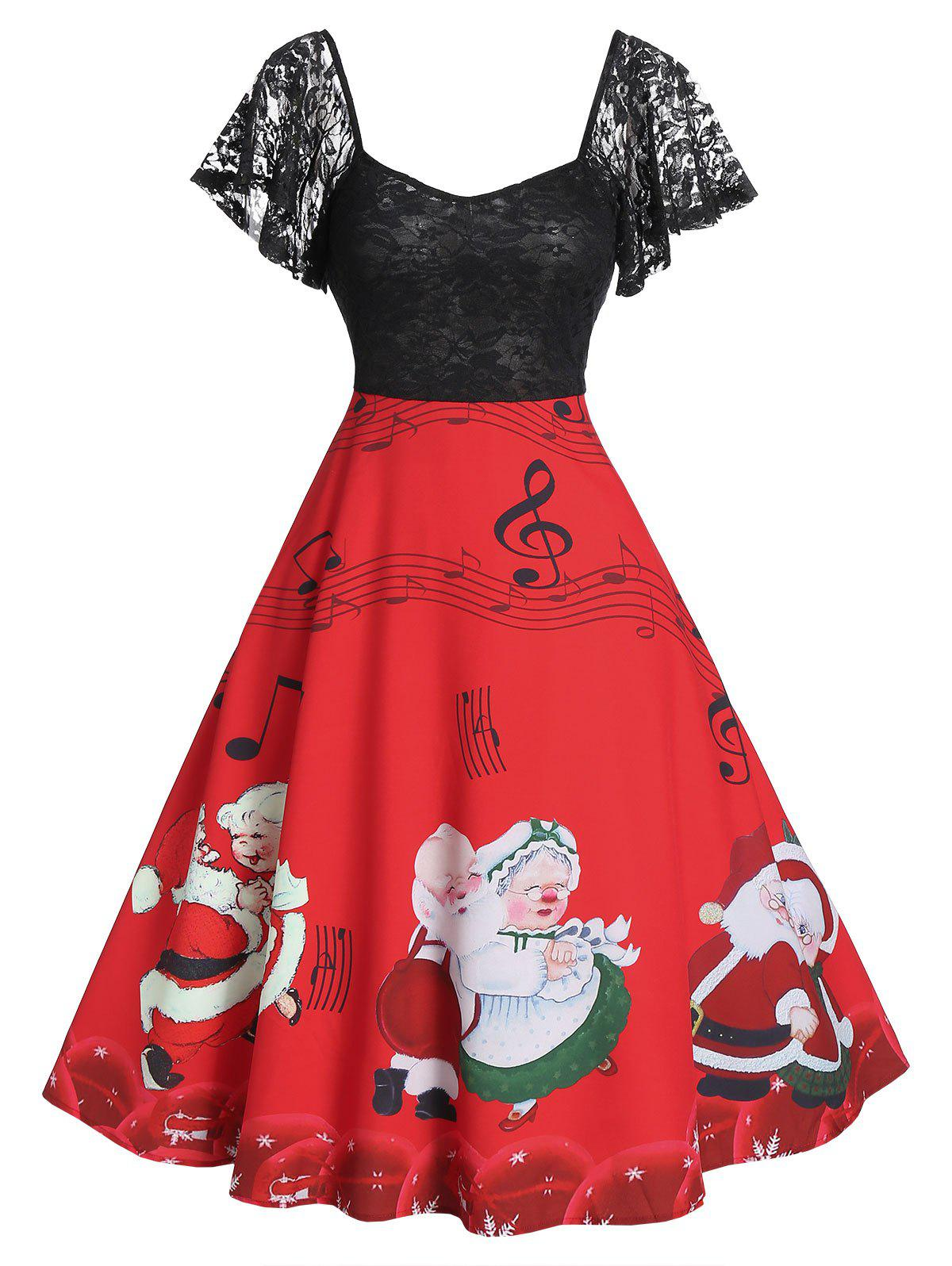 Christmas Santas Musical Notes Print Lace Panel A Line Dress - RED L