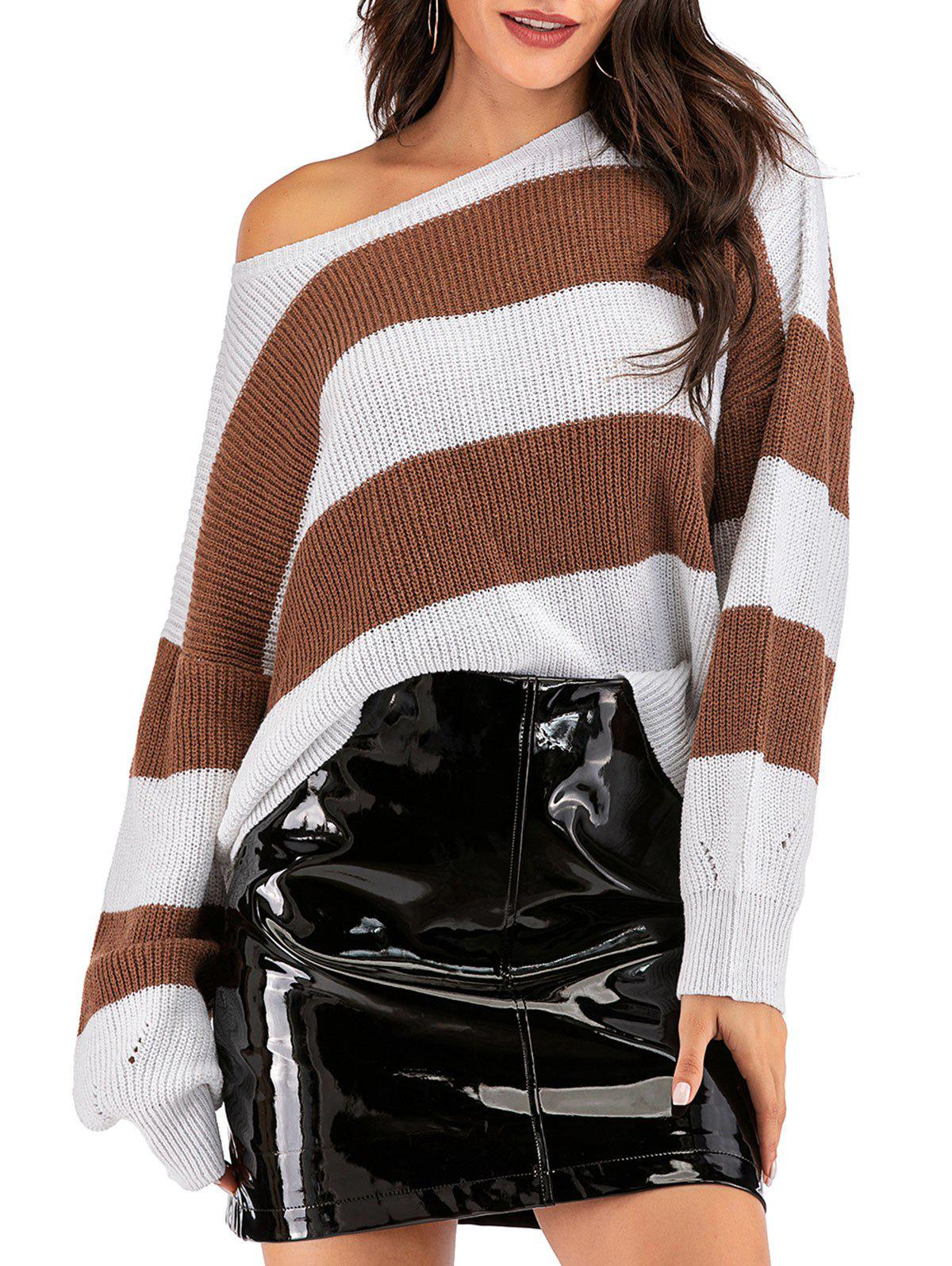Pointelle Knit Striped Oversized Sweater