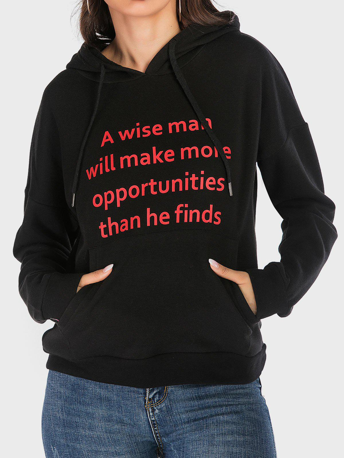 Front Pocket Wise Graphic Hoodie - BLACK XL
