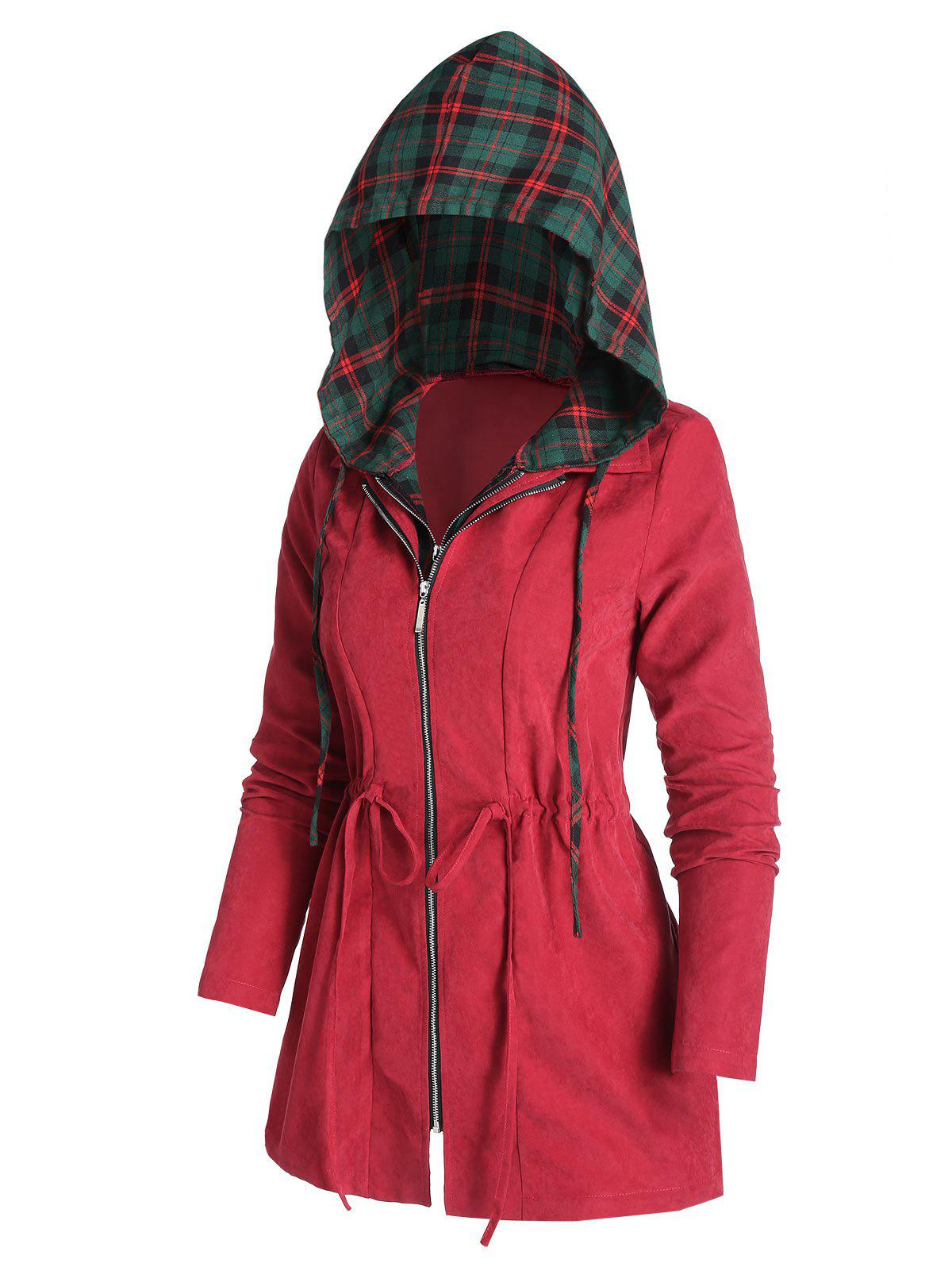 Drawstring Hooded Plaid Coat - RED WINE 3XL
