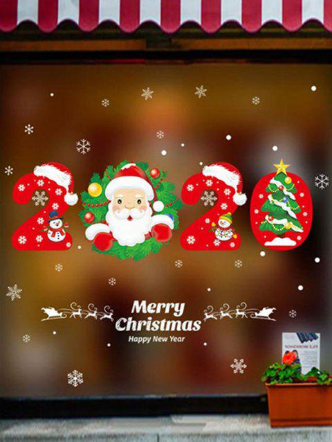 2020 Christmas Santa Claus Pattern Wall Sticker Set - RED