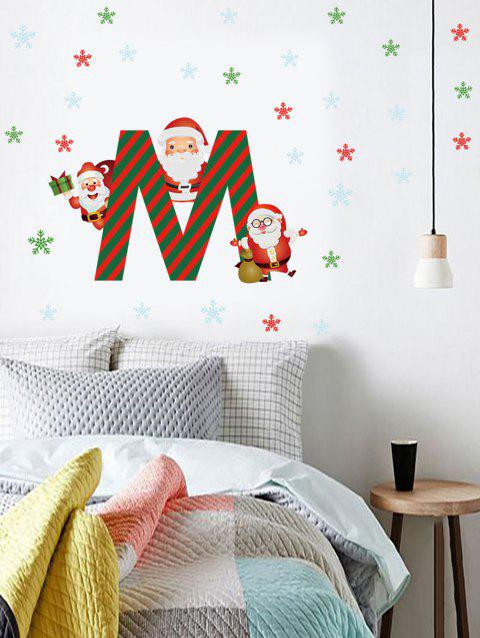 Christmas Santa Claus Snowflake Print Wall Art Stickers - multicolor 40*60CM