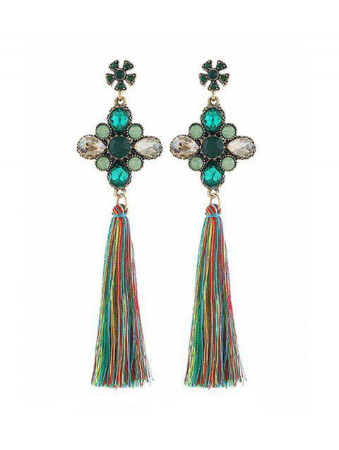 Floral Rhinestone Tassel Dangle Earrings - GREEN