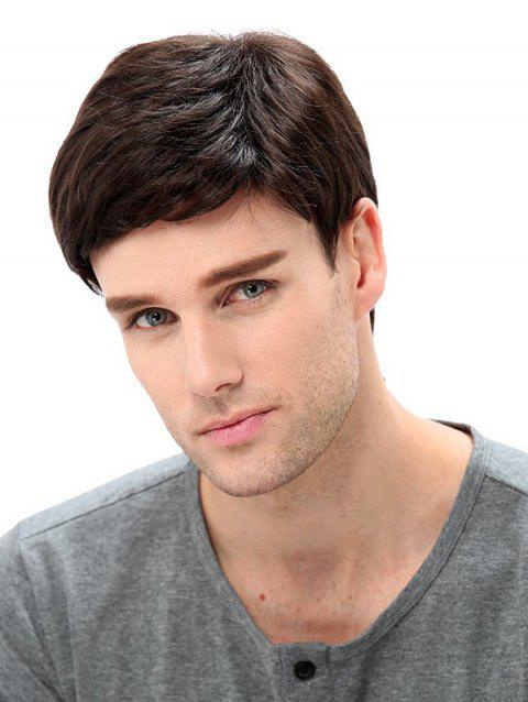 Side Part Synthetic Straight Men Wig - NATURAL BLACK 4INCH