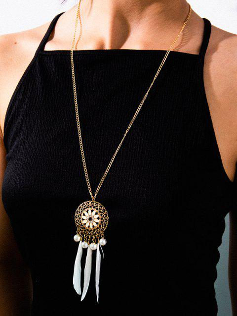 Dreamcatcher Flower Hollow Feather Long Necklace - WHITE