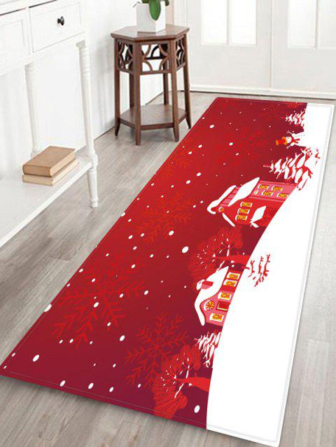 Christmas Tree Snowflake House Pattern Water Absorption Area Rug - RED WINE W16 X L47 INCH