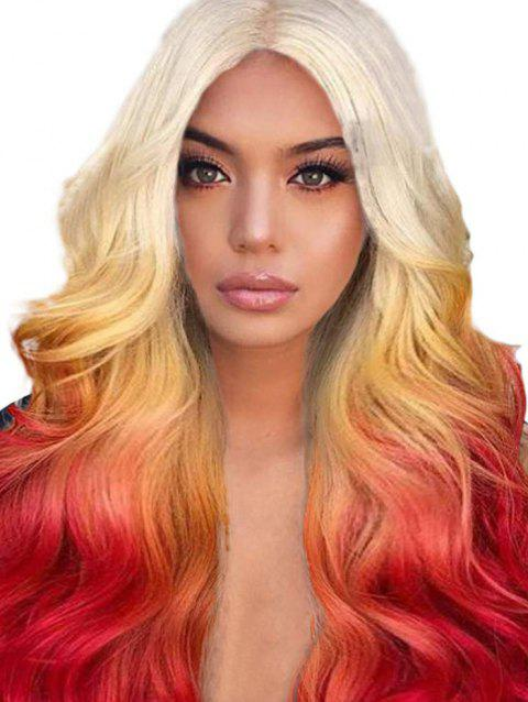 Long Center Part Ombre Body Wave Synthetic Wig - BRIGHT ORANGE 24INCH