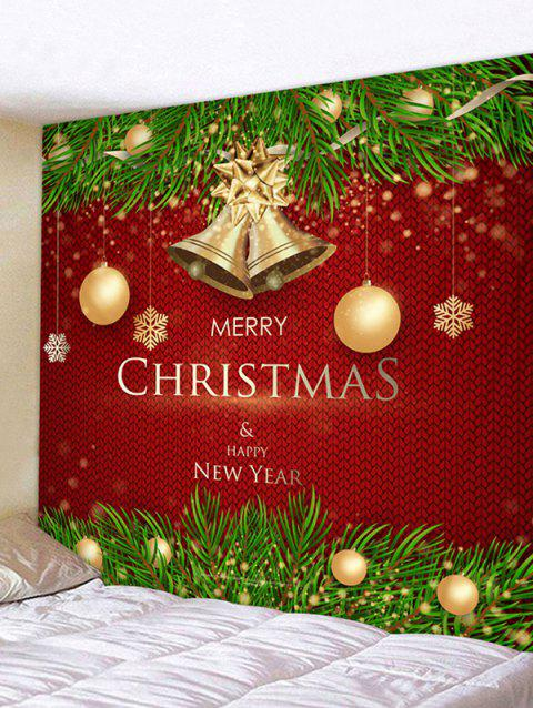 Christmas Balls Bells Greetings Print Tapestry Wall Hanging Art Decoration - RED 200*150CM