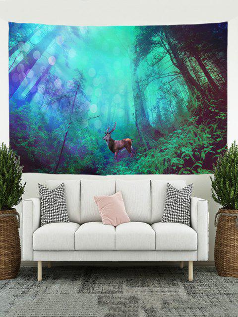 Forest Elk Print Tapestry Wall Hanging Art Decoration - multicolor A W59 X L59 INCH